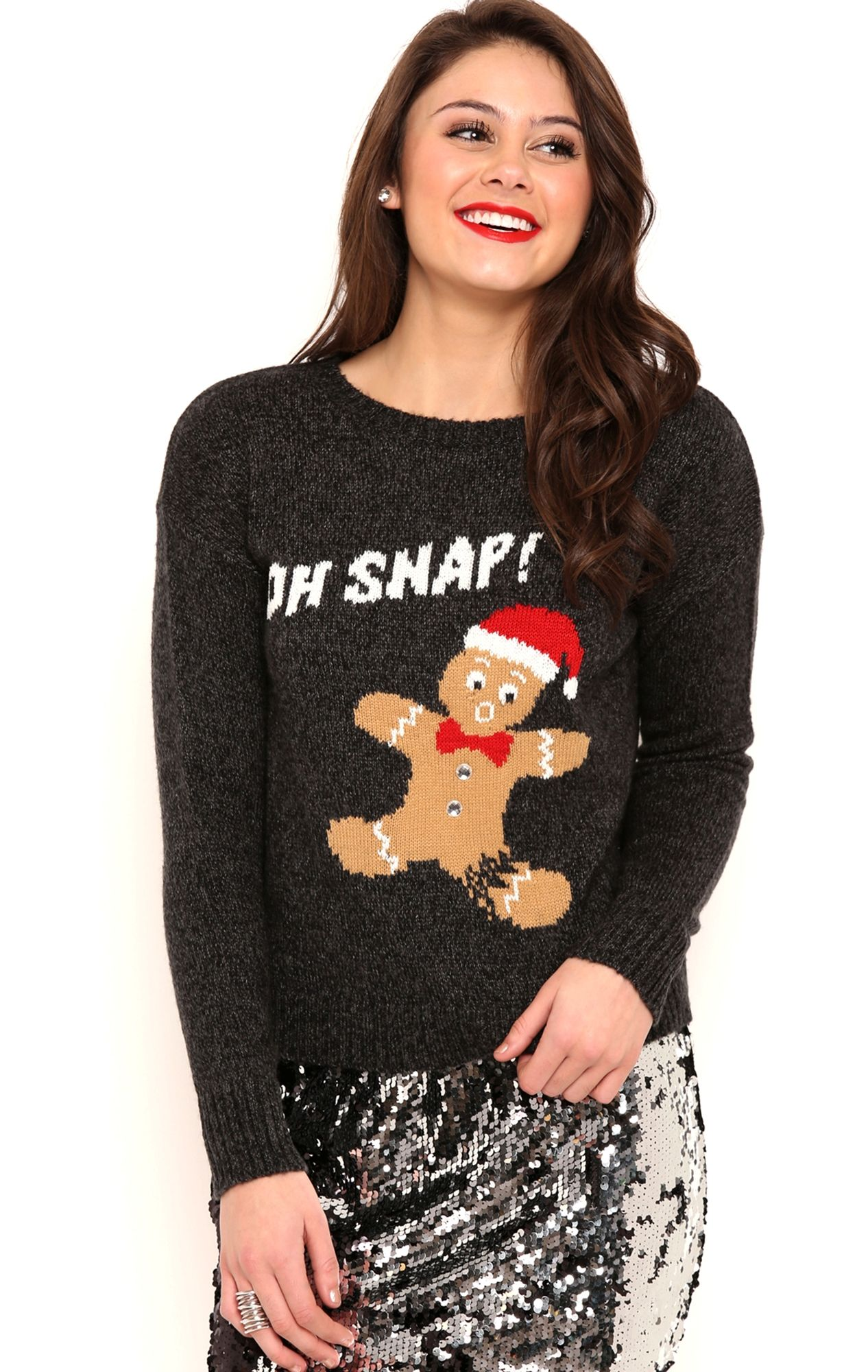 Deb Shops Long Sleeve Gingerbread Holiday Sweater with Oh Snap ...