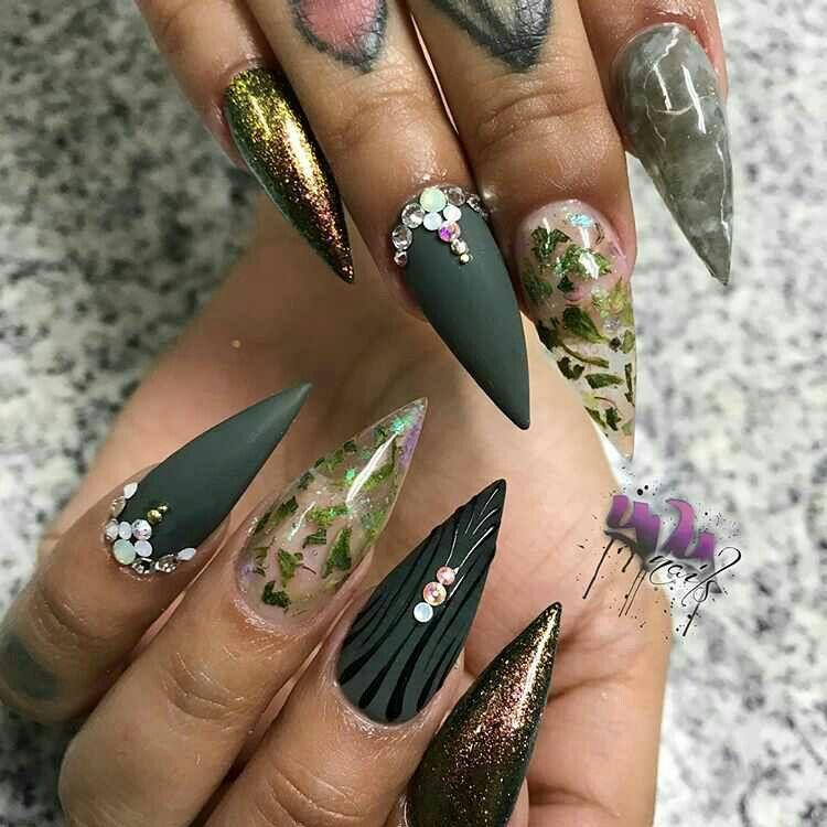 Fall Autumn Nail Art Idea For Stiletto Nails Decorado De Unas Stiletto Nails Designs Stiletto Nails Nail Designs