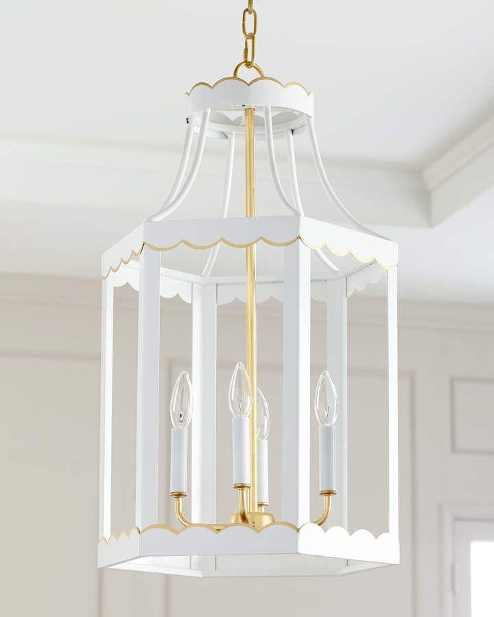 Eloise Glossy Lantern White Gold Living Room Sets Light Fixture