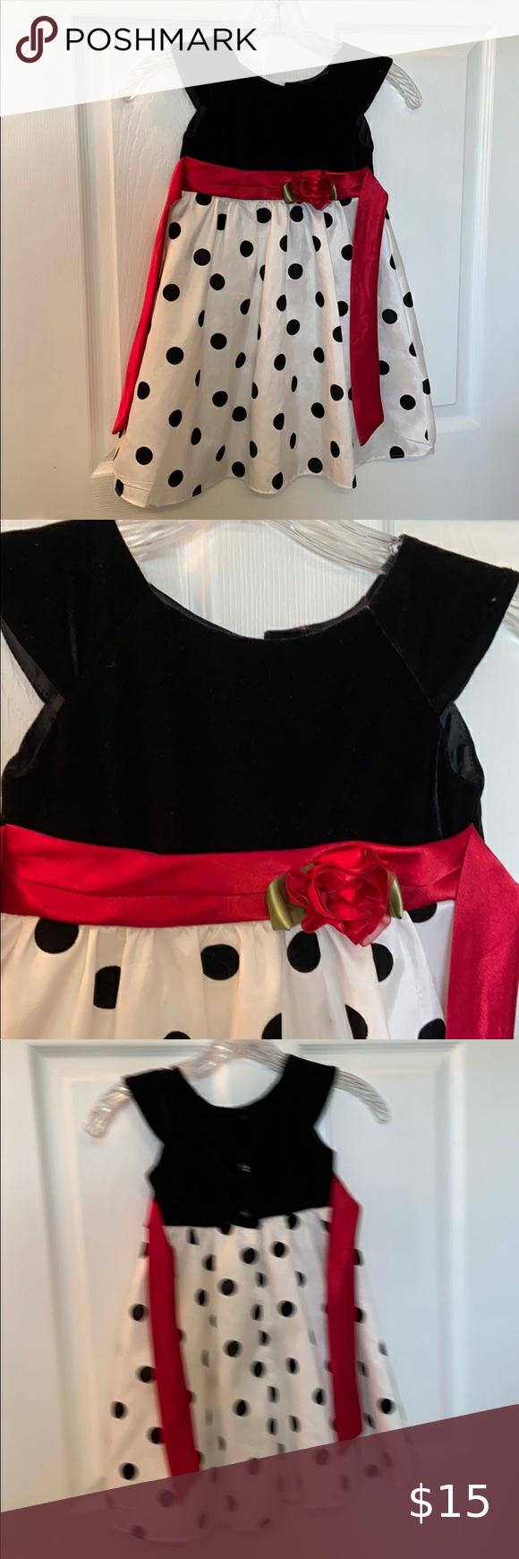Little Girls Size 4t Black White Dress Little Girls Size 4t Dress With Black Velvet Sleeveless Top Red Tie Waistlin Black White Dress Size Girls White Dress [ 1740 x 580 Pixel ]