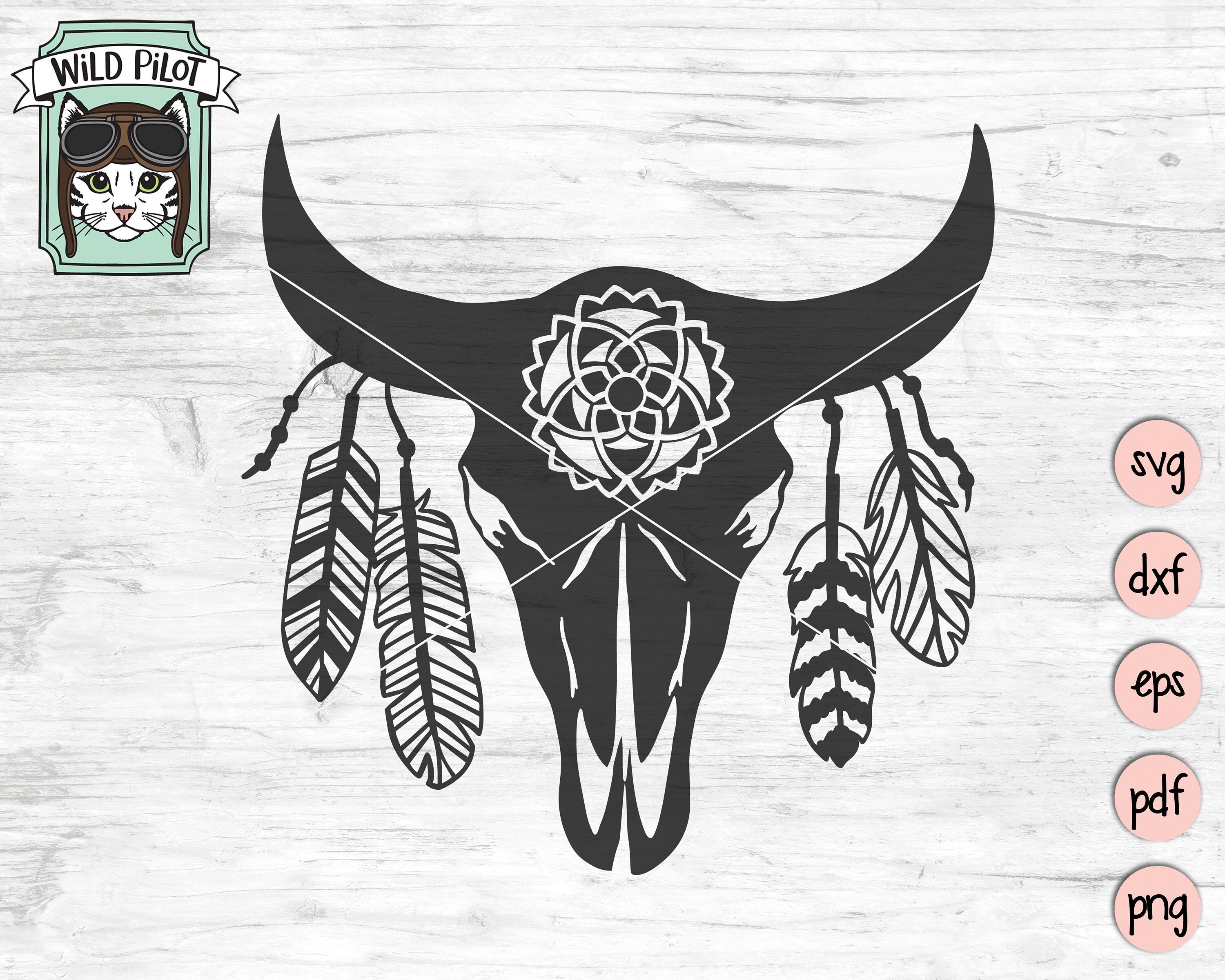 Cow Skull with Feathers SVG, Cow Skull svg file, Native