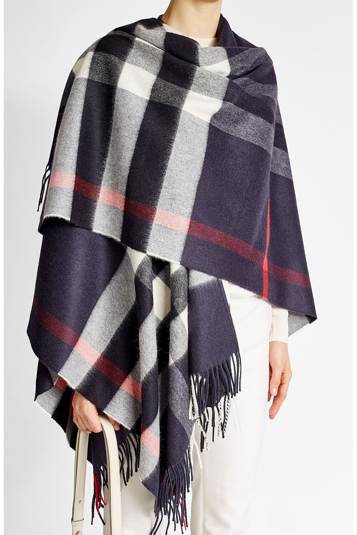 Printed Poncho with Cashmere and Merino Wool - Burberry London   WOMEN   DE  STYLEBOP. 78bffd82892