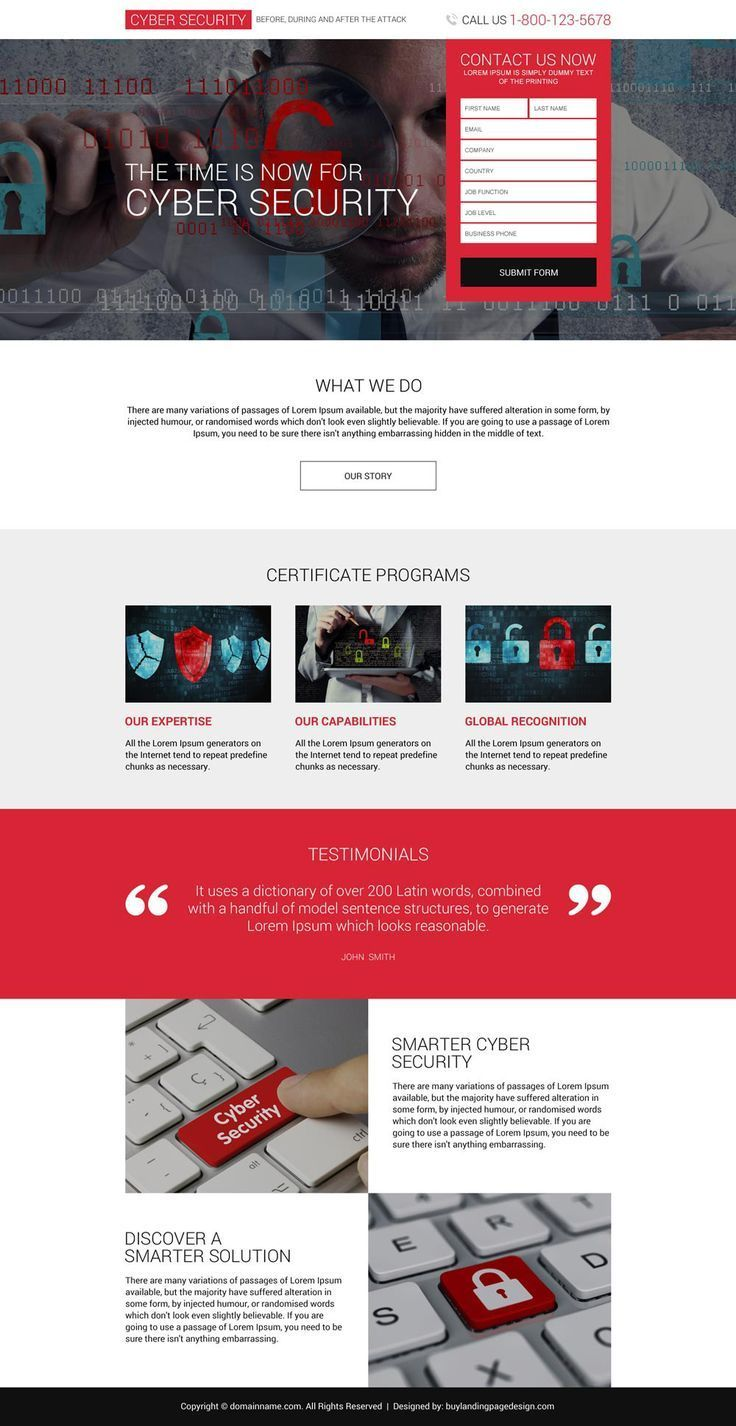 Responsive Cyber Security Services Lead Capturing Landing Page Security Securityservices Securityguar Landing Page Design Web Design Websites Cyber Security