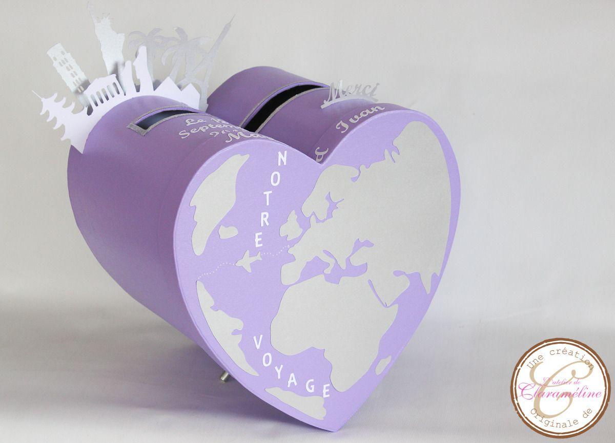 urne de mariage parme et argent th me voyage id es mariage urne mariage idee deco mariage. Black Bedroom Furniture Sets. Home Design Ideas