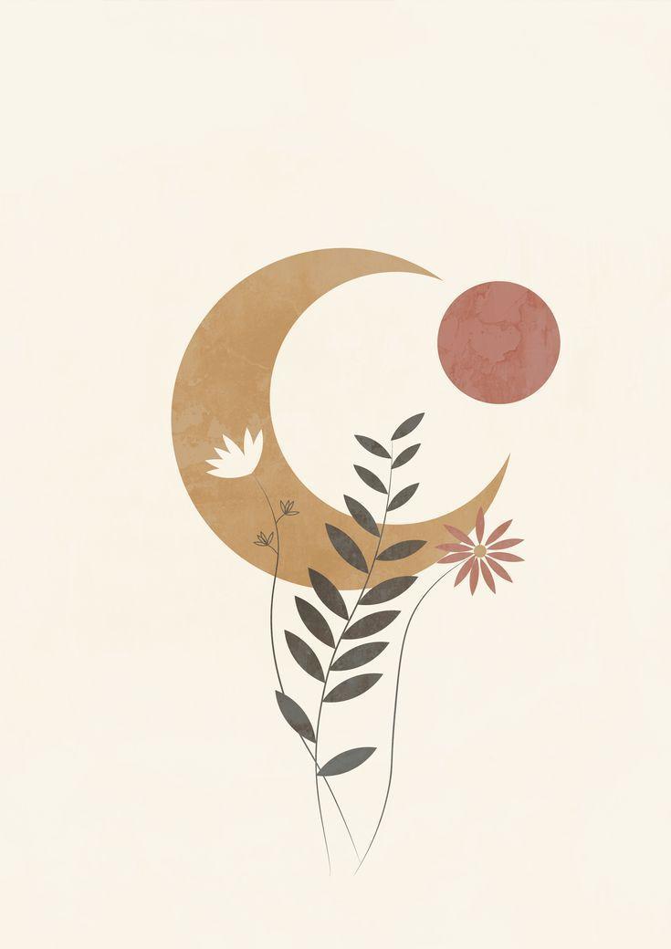 Photo of Bohemian abstract moon poster printable wall art, abstract painting, abstract moon print, boho wall