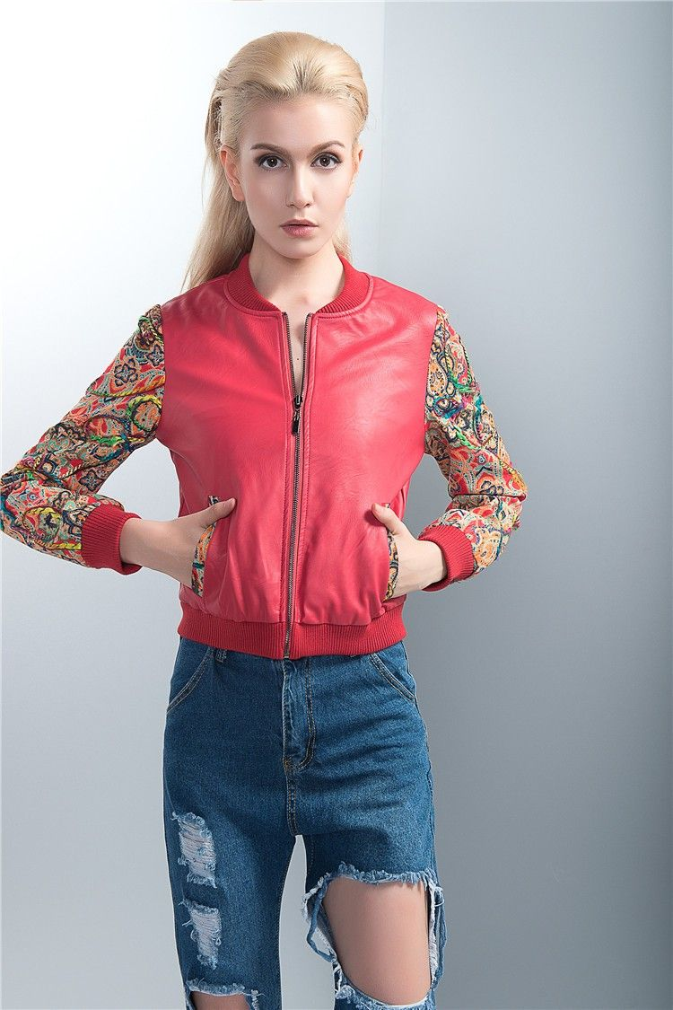 19300f1f8364 Red Leather Baseball Jacket for Women with Colored Embroidery Sleeves