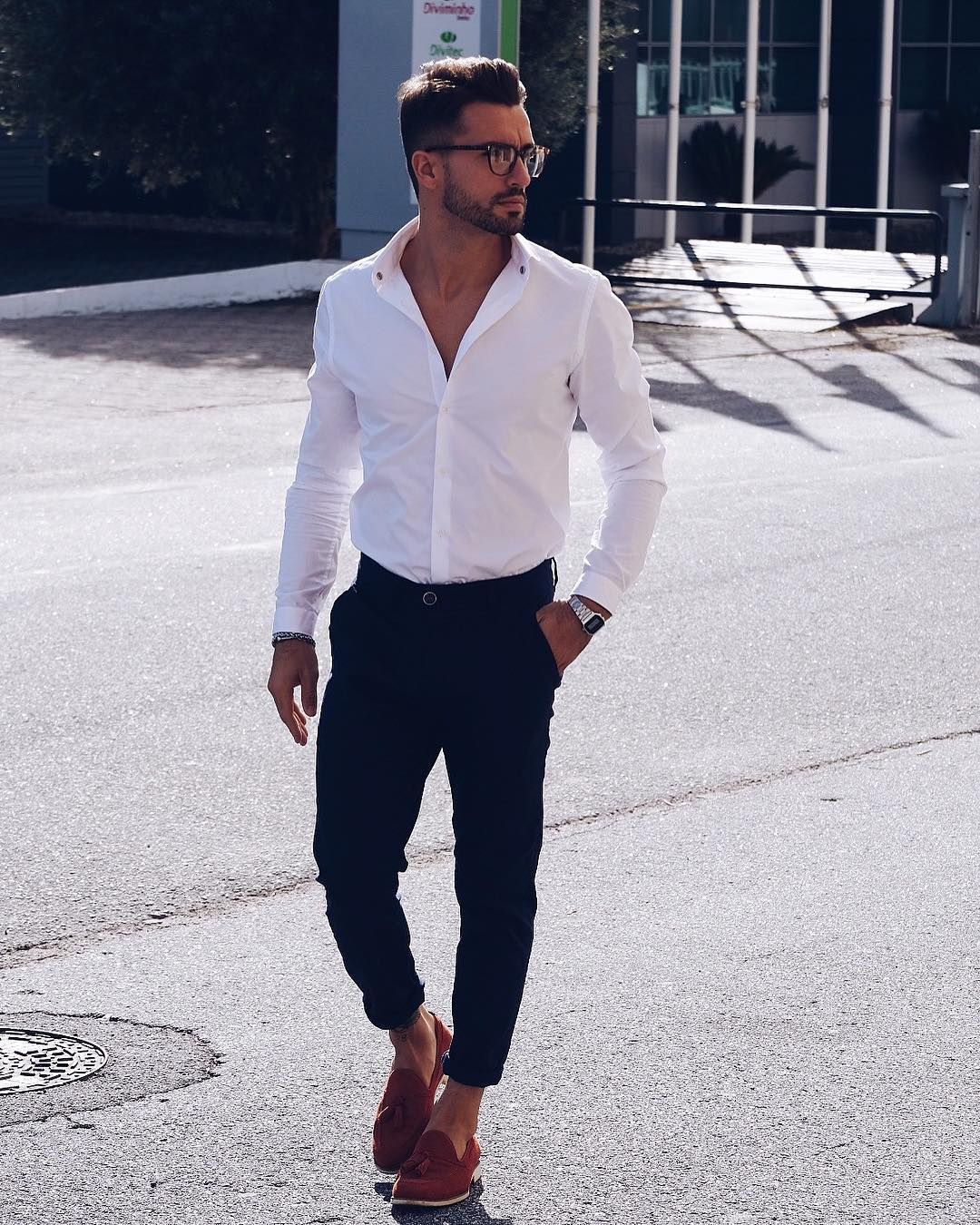 Men's office wear  White shirt + suit pants  Visit urbanmenoutfits