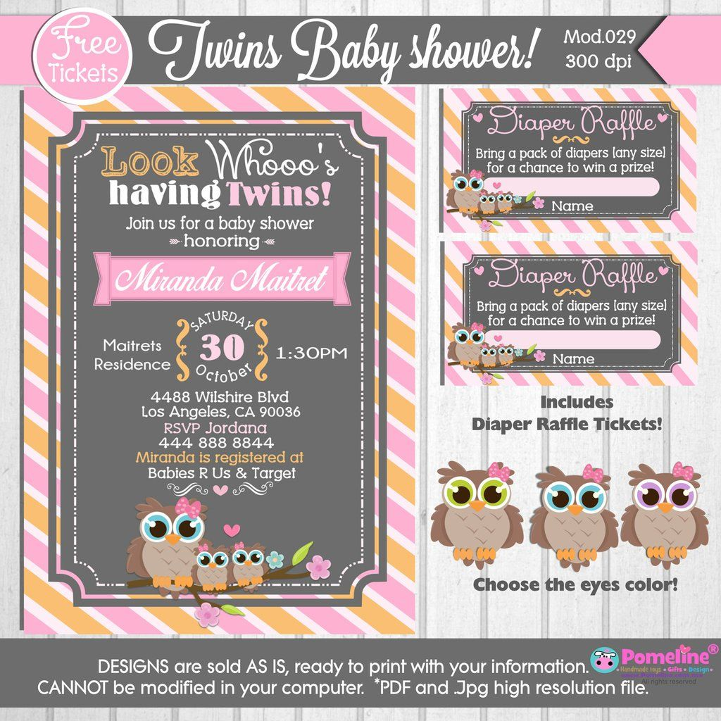 printable twin little owls baby shower invitation diaper printable twin little owls baby shower invitation diaper raffle tickets any