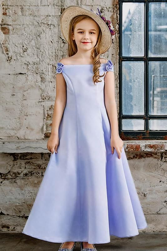 A Line Off The Shoulder Satin Junior Flower Dresses Angrila Dress Aline Hat