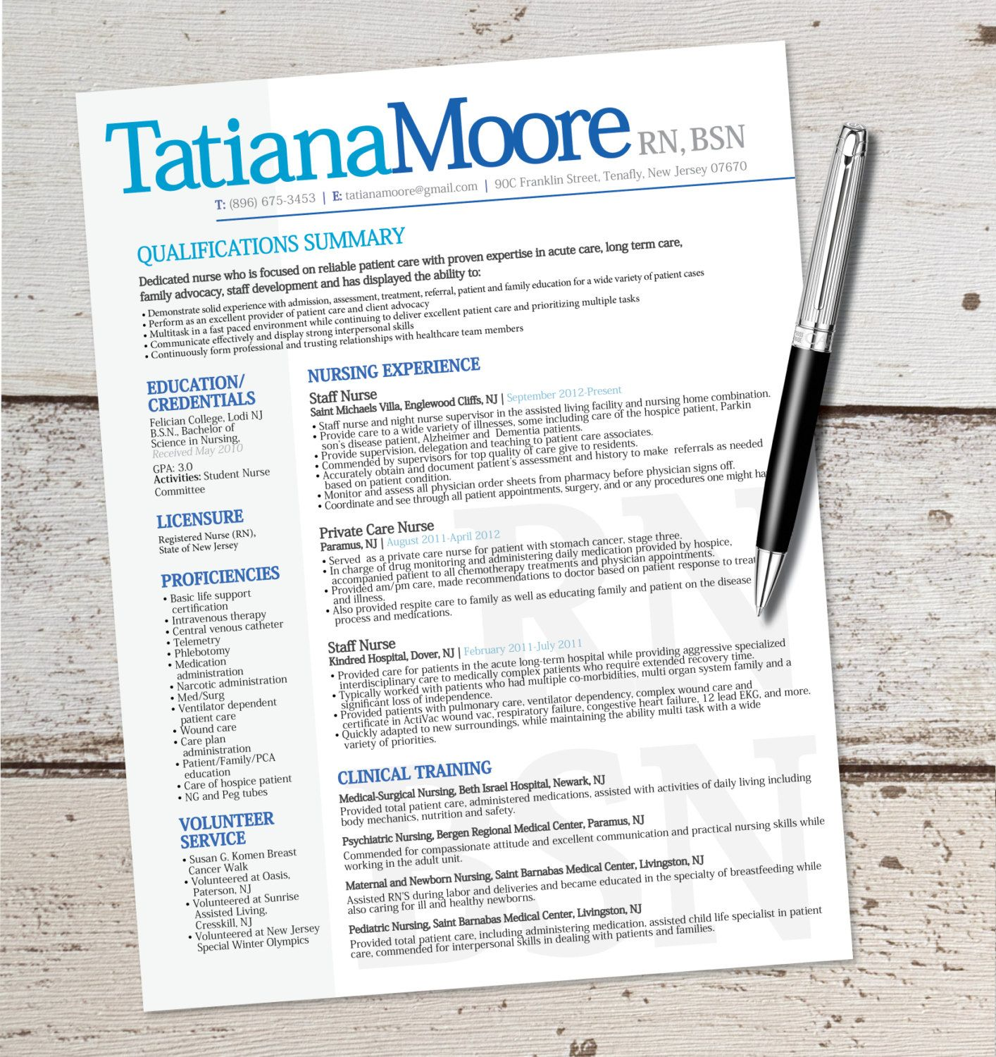 The Tatiana Resume Design  Graphic Design  Marketing  Sales