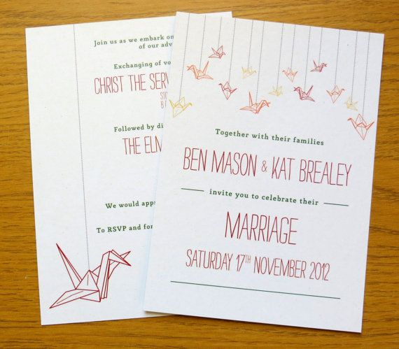 Printable Wedding Invitation/Stationery Set   Origami Paper Cranes (A6)  Custom Colors On