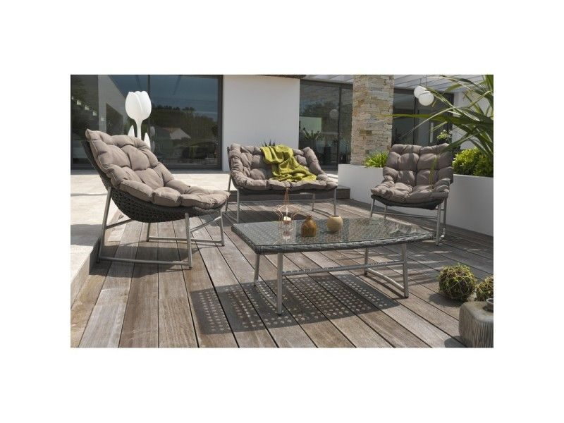 Salon De Jardin 4 Places En Inox Et Resine Tressee Marron Vente De Salon De Jardin Conforama Dimensions Table L X L X H En Cm Agrement