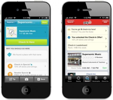 Unlock yelp/foursquare specials when you check in at