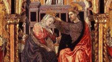 Agnolo e Bartolomeo degli Erri, Polittico dell'Ospedale della Morte, Modena, Galleria Estense dettaglio incoronazione della Vergine
