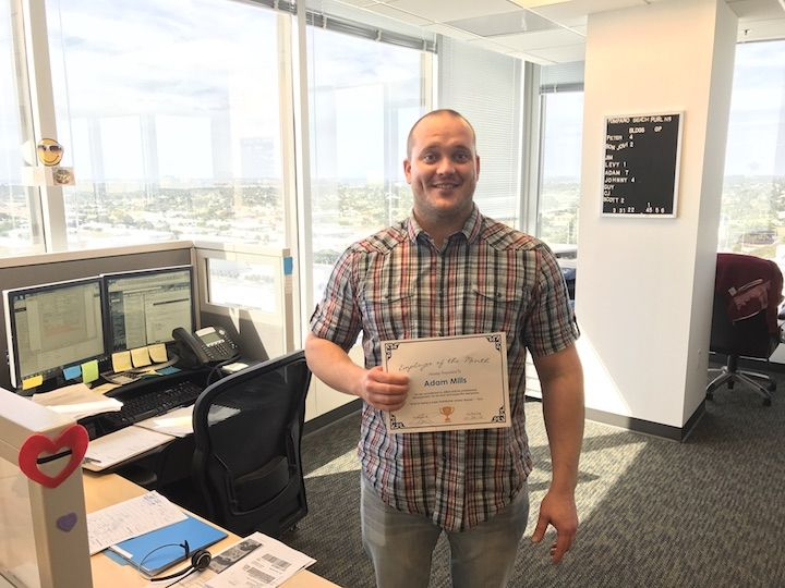 Congratulations Adam for being employee of the month of January 2017! Adam won for his consistent growth, business acumen, good attitude and snazzy dressing.