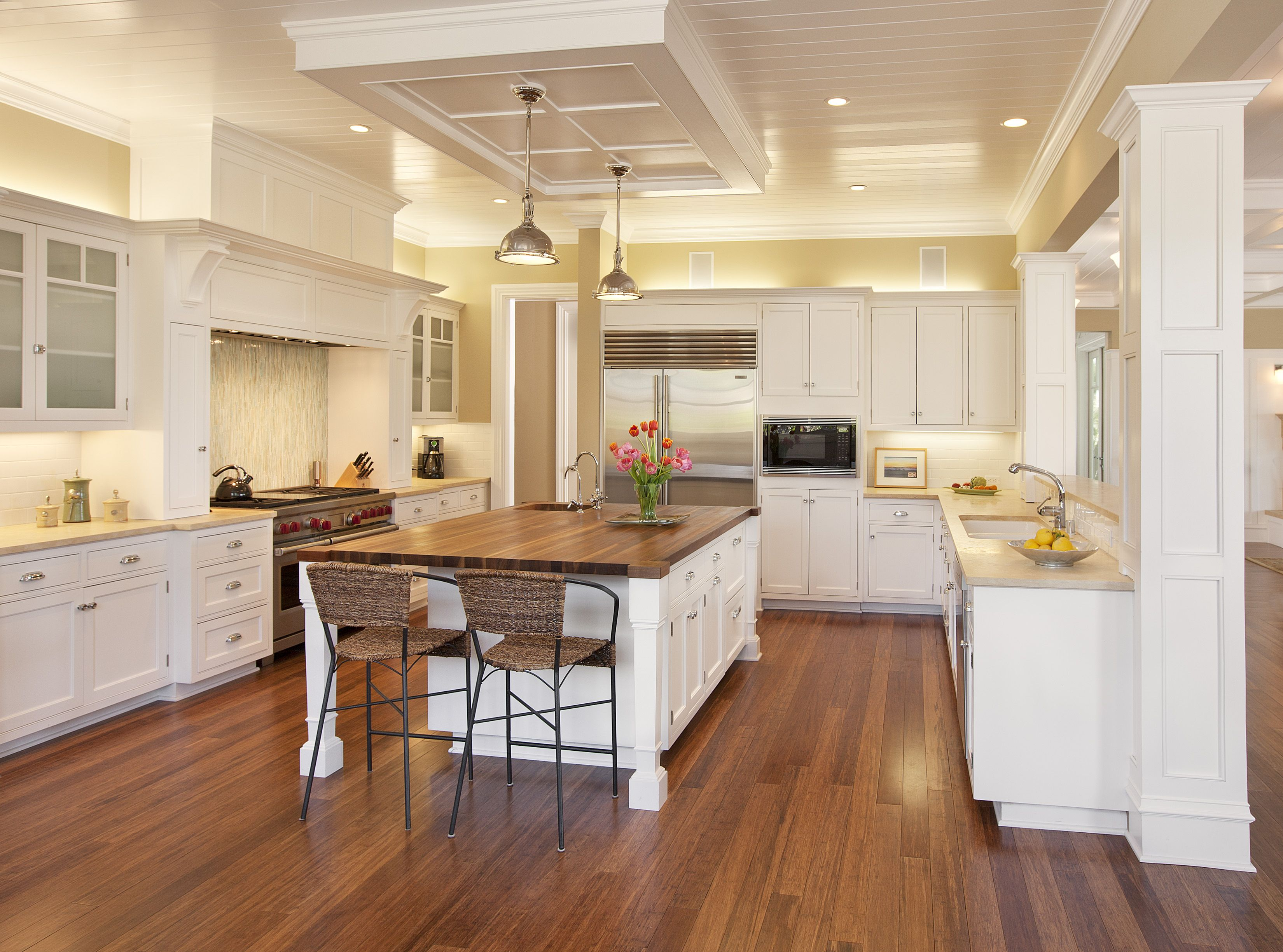 Bright And Airy Kitchen, White Cabinets, Island With Wood Counter