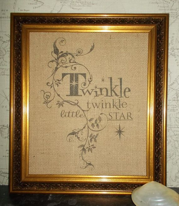 Framed Hessian Burlap Print Twinkle Twinkle Little Star text quote ...