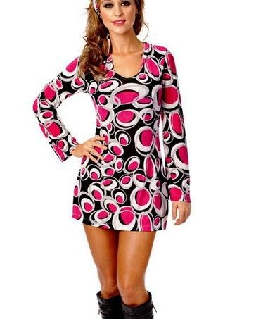 FREE SHIPPING Ladies 60s 70s Retro Hippie Go Go Girl Disco Costume Fancy  Dress… 68952dfce032