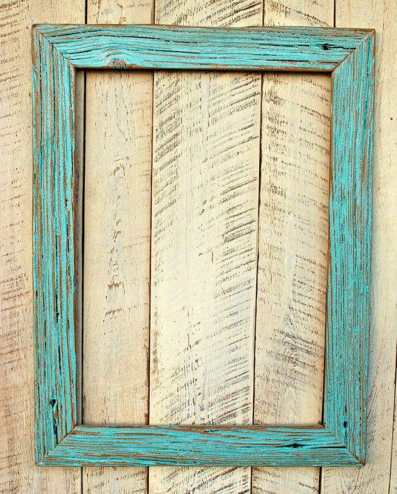 handmade blue distressed reclaimed wood frame by oldlikenew - Distressed Wood Frames