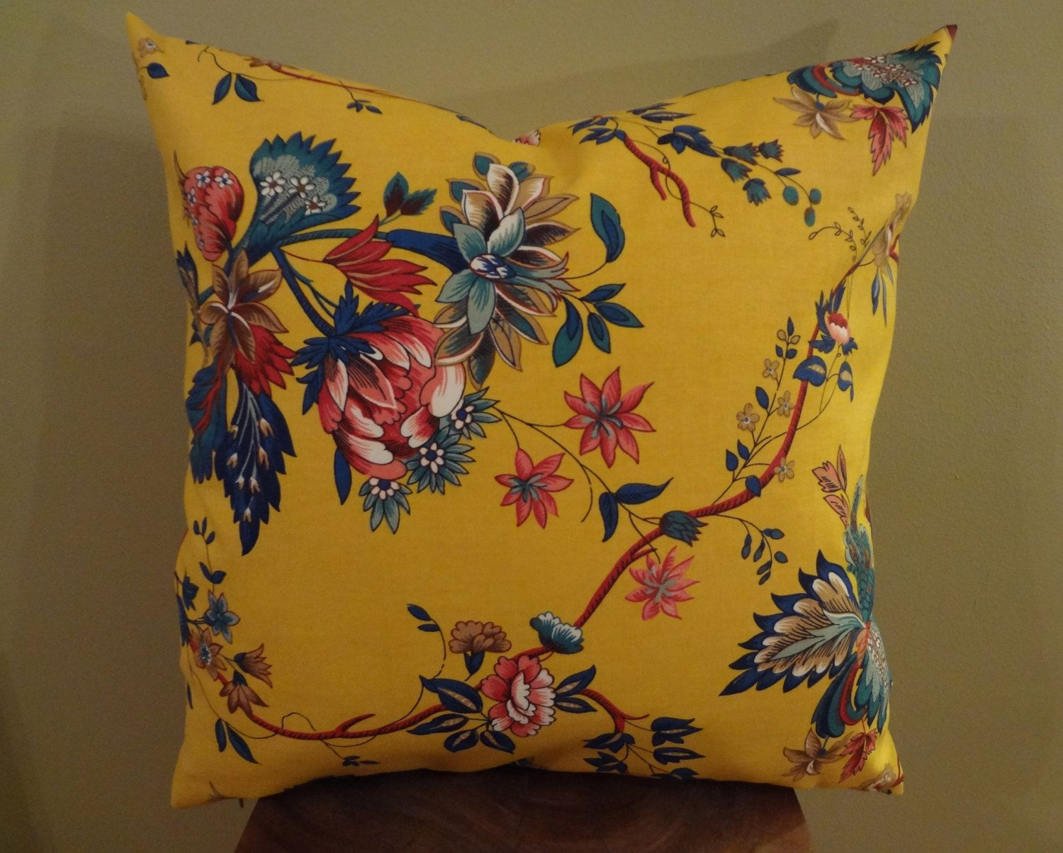 Decorative pillows with blue brown and yellow - Decorative Pillow Cover Yellow Red Green Navy Blue Floral Pattern Toss Pillow Accent Pillow Throw Pillow