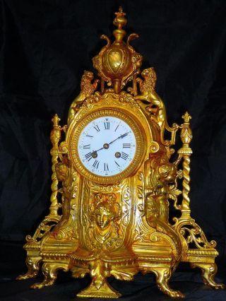 Unique French Bronze Boudoir Mantel Clock Louis - Xvi C.  1880 photo