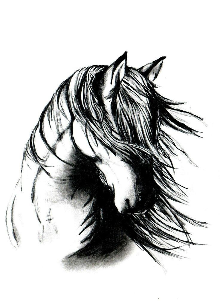 Black And White Horse With Fluttering Mane Tattoo Design Horse Tattoo Horse Tattoo Design Head Tattoos