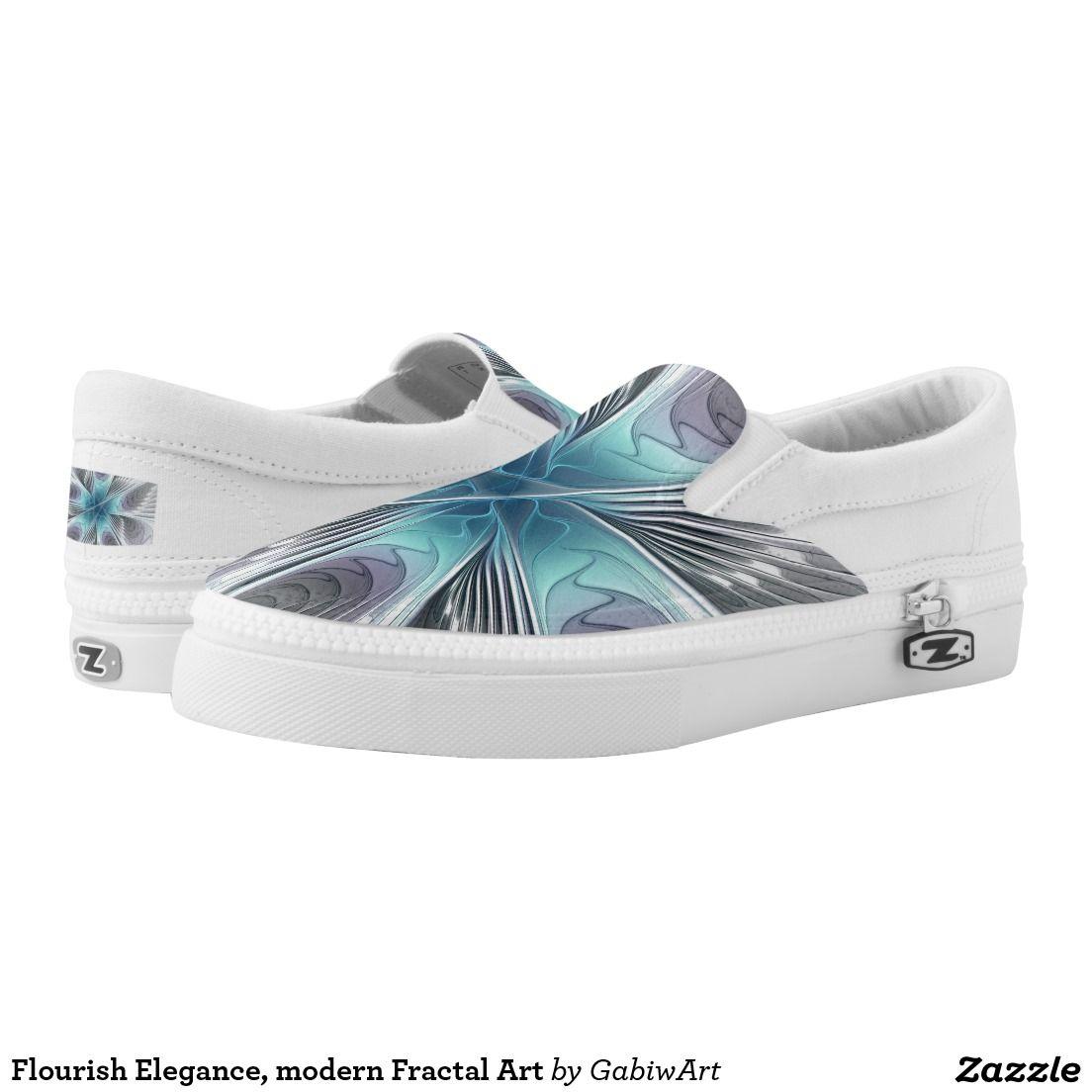 Flourish Elegance, modern Fractal Art Printed Shoes