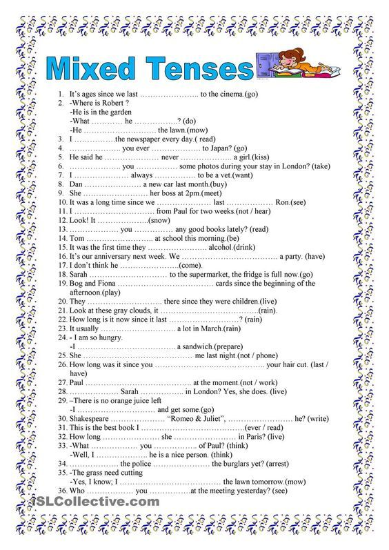 Mixed tenses, 2 pages (key included) | grammar | Pinterest | Key ...