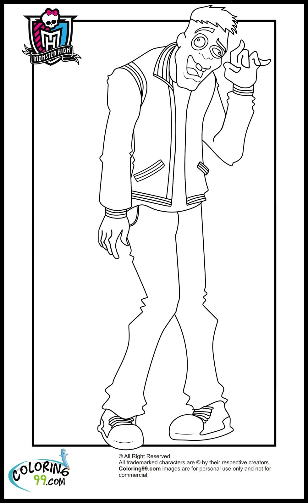 Monster High Ausmalbilder Draculaura Und Clawd : Monster High Boys Moe Slow Moe Deadovitch Coloring Pages 2 Color