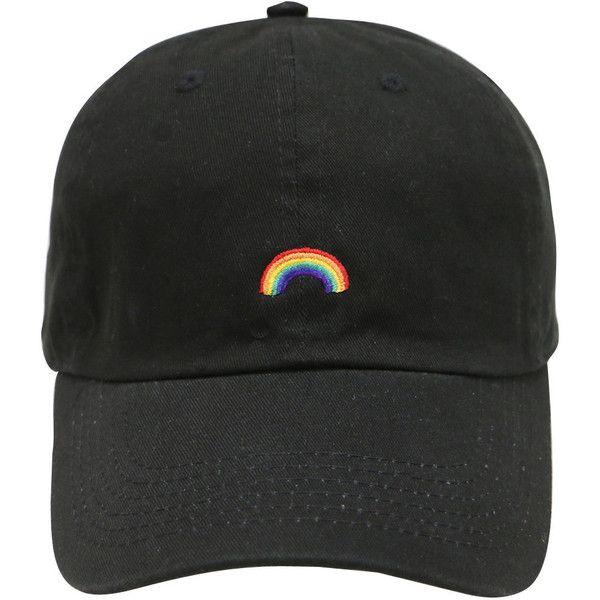 Cápsula de diseño arco iris algodón béisbol papá Cap Black (41 BRL) ❤ liked  on Polyvore featuring accessories and arco 962db371801