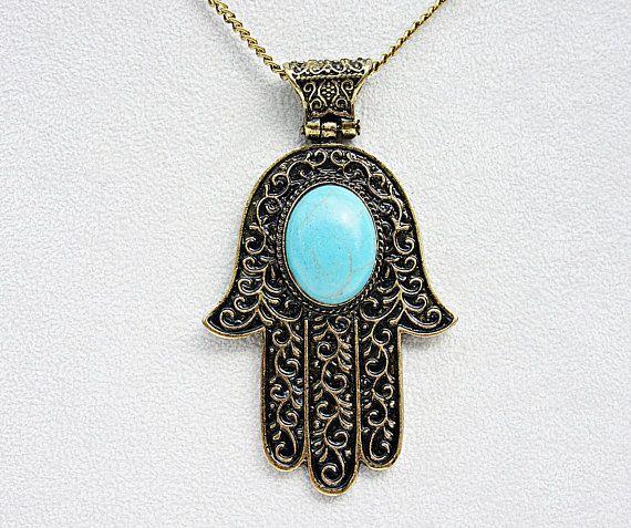 Halskette Anhänger Hand of Fatima Türkis Schmuckstein