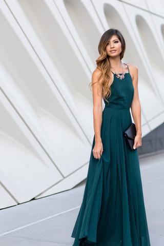 a5f1c8d1488 Emma Forest Green Flowy Maxi Dress  71
