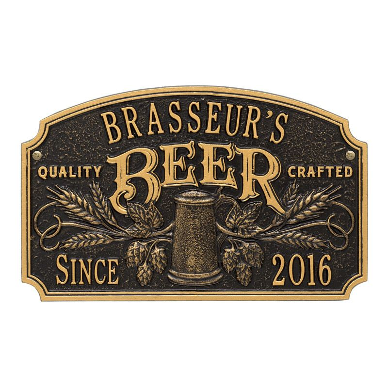 Quality Crafted Beer Plaque Personalized Metal Home Bar ...