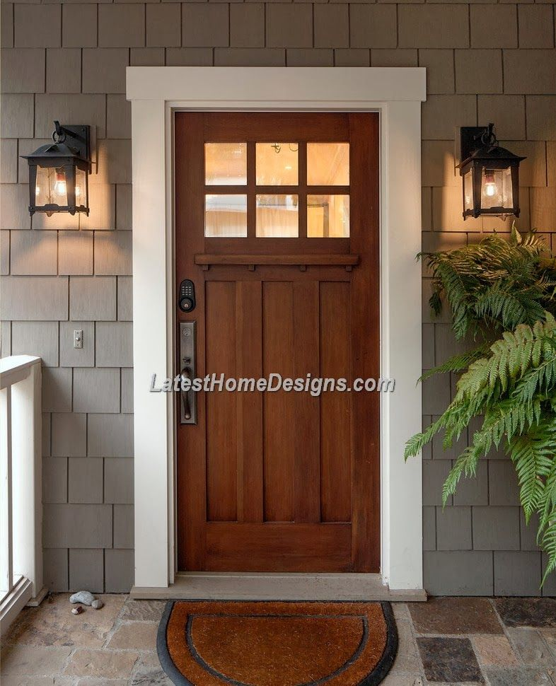 Wood Front Doors With Glass Images Latest Home Designs Craftsman Front Doors House Exterior Front Door Design