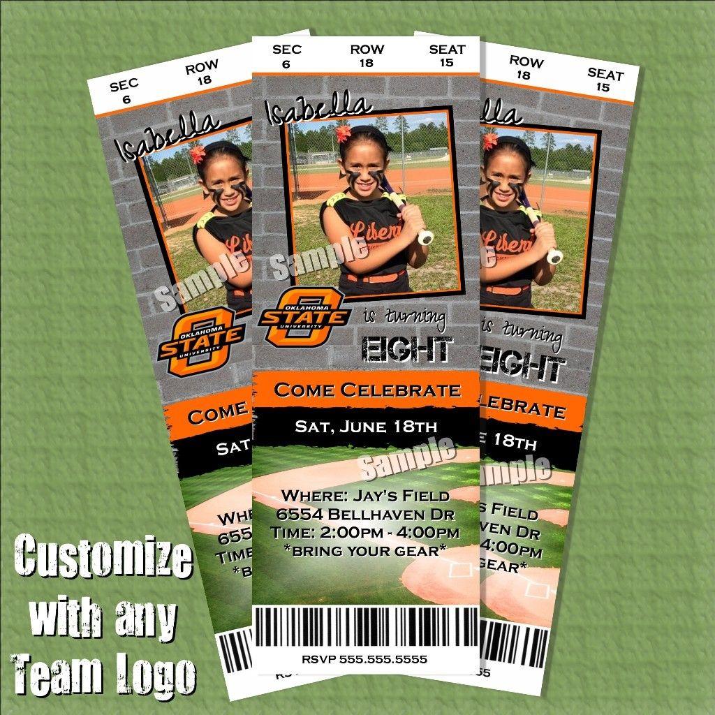 softball birthday invitation tickets customizable with team and