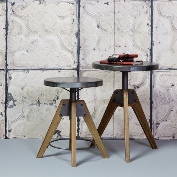 Vintage Hocker DISC natur Fußhocker Sitzhocker Holz Metall Stuhl ...