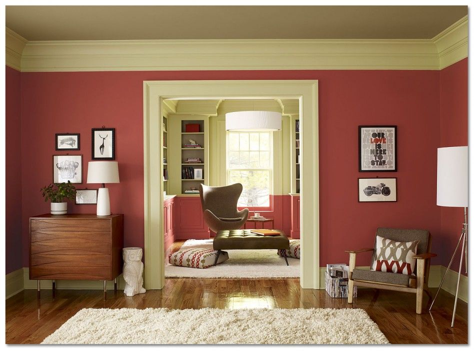 Interior Extraordinary Design Ideas With Red Asian Paint Wall Colors Along Walnut