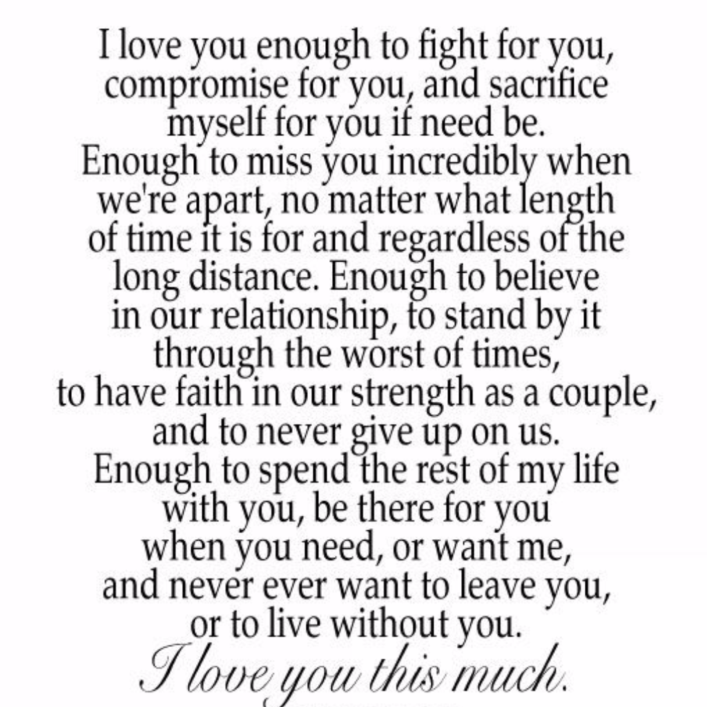 I Love You Enough To Fight For You, Compromise For You