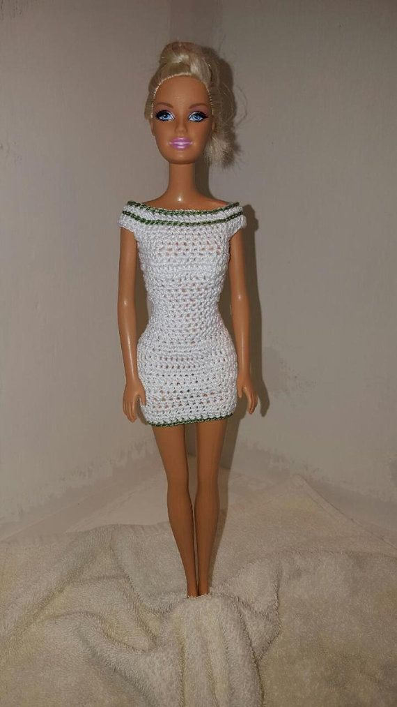 Crochet Barbie Dress, Fashion Doll Crocheted Clothing, Handmade Barbie Clothes, White Dress with Green Trim