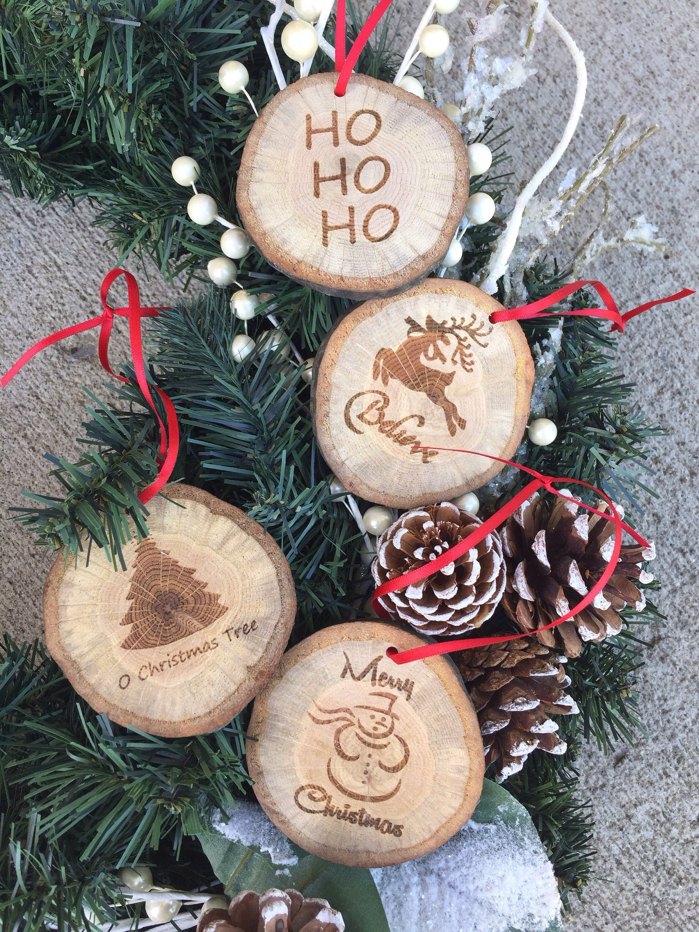 Wood Slice Christmas Ornaments Christmas Ornaments Rustic Christmas Ornaments Set Of Four Christma Rustic Christmas Ornaments Rustic Christmas Christmas Wood
