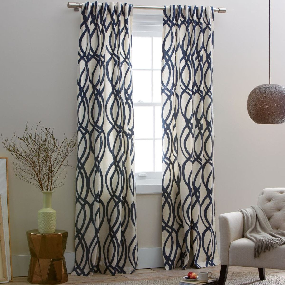 Scribble Curtain - Midnight Blue   {new home} Eureka Street ...