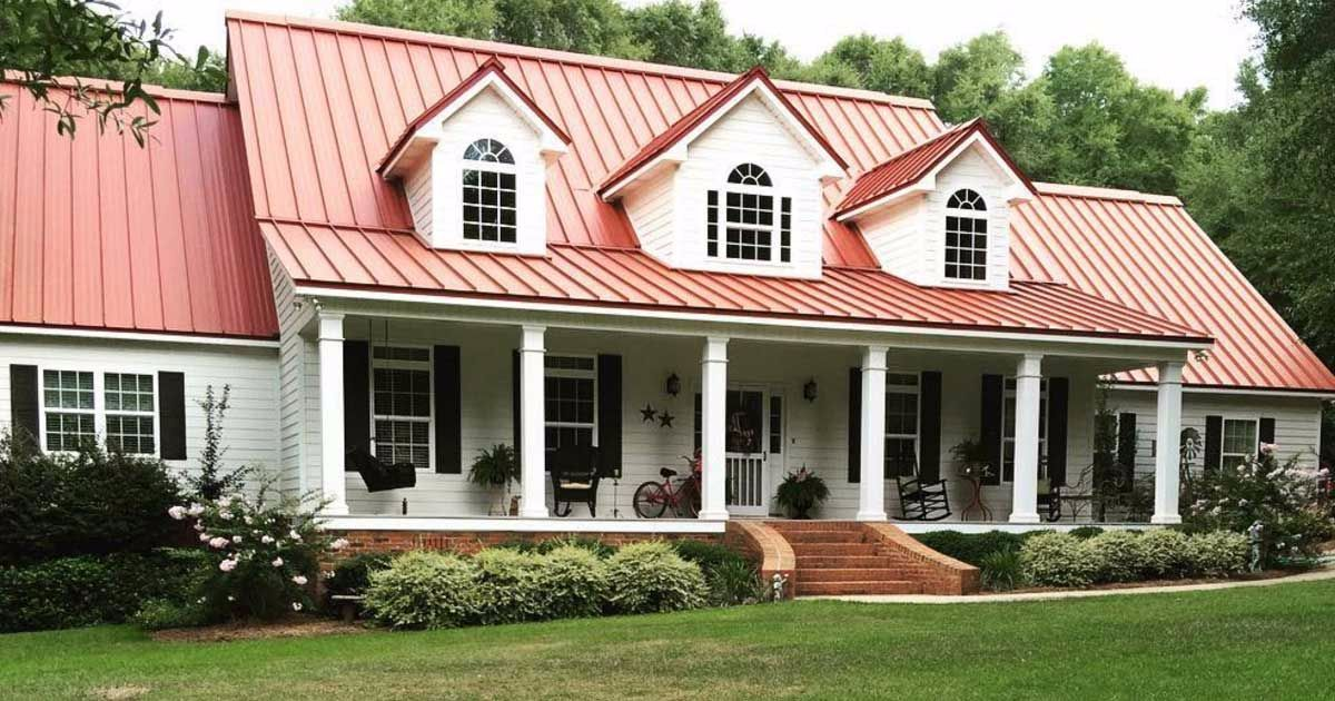 Step Into A Charming Farmhouse That Exudes Southern Hospitality With Every Detail Farmhouse Exterior Colors Red Roof House House Exterior