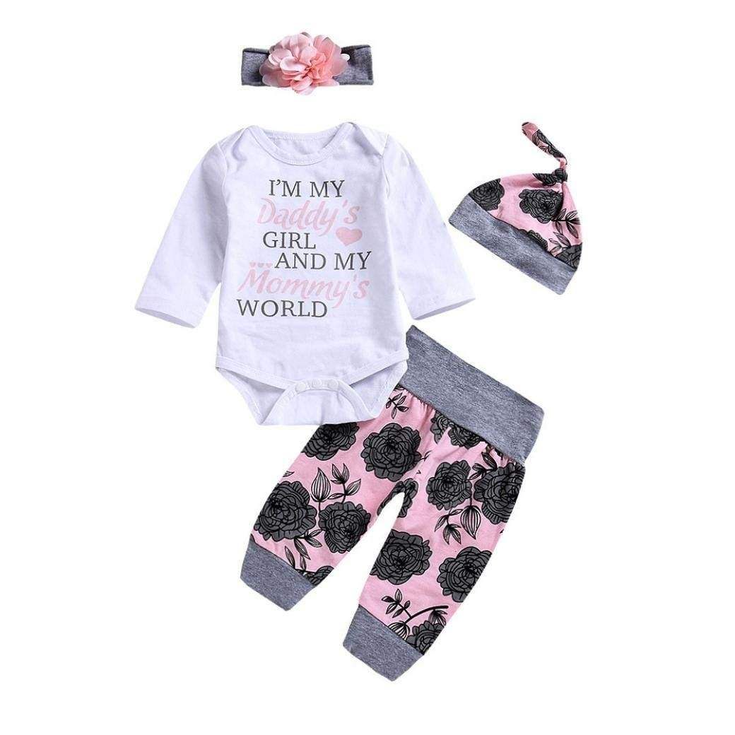 Cute Toddler Baby Girls Letter Rompers Jumpsuit Flowers Pants 4PCS Outfit Set US