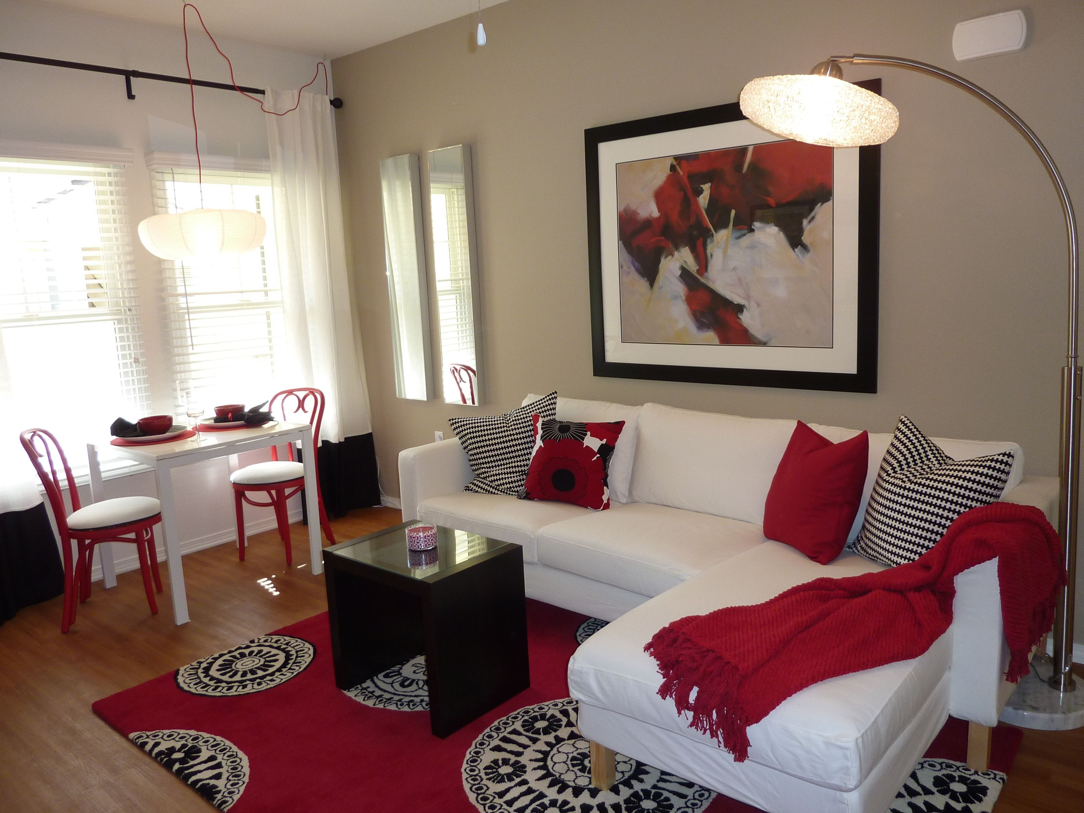 living room decorating ideas red and black%0A Model Apartment  red  white and black  ikea  medallion area rug  ventura