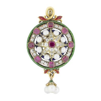 A circular ruby, diamond, pearl and enamel pendant, ca. 1850. | In the Swan's Shadow