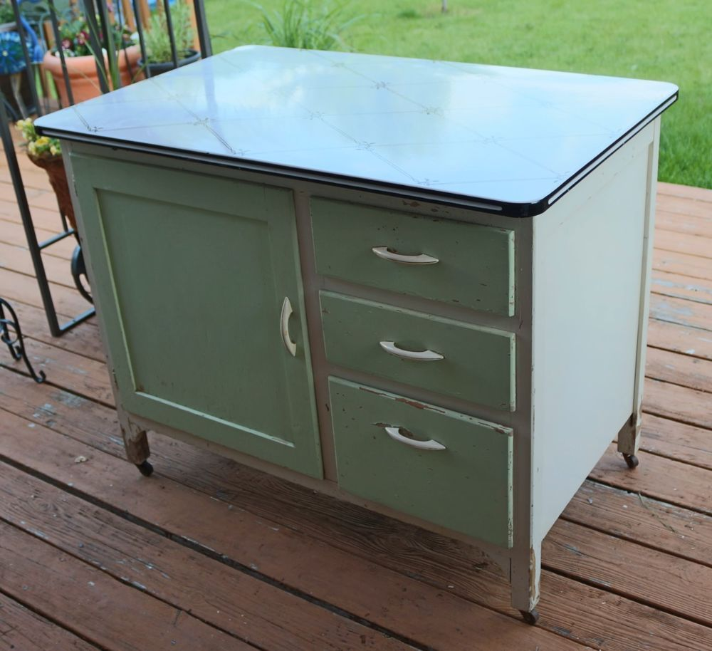 Enamel top kitchen table - Vintage Hoosier Type Cabinet Enamel Top Bread Drawer Shabby Chic Will Ship