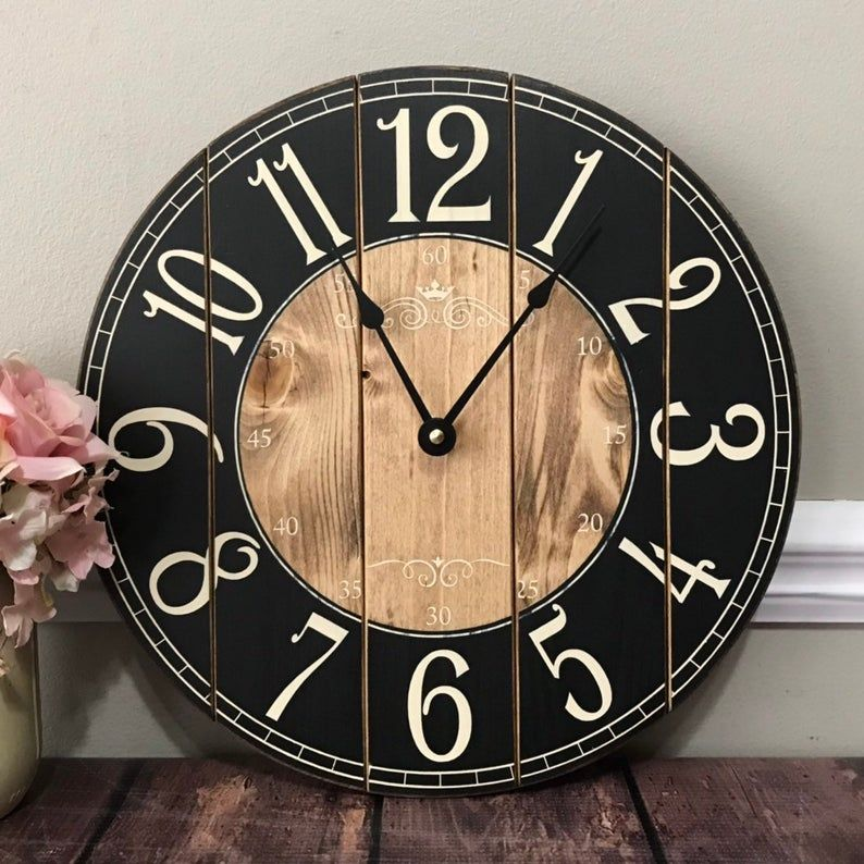 12 inch wooden farmhouse clock arabic numbers rustic