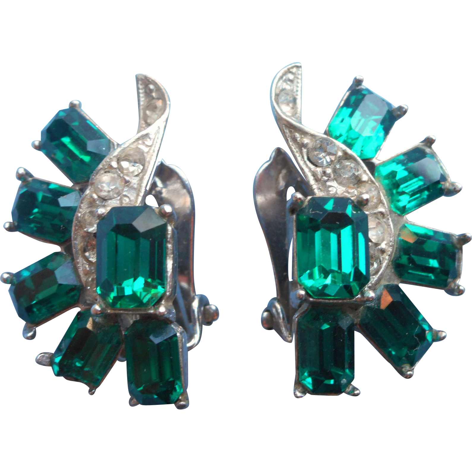 Vintage Earrings Faux Emerald Gl Stones Wiesner Signed Rhinestone Clip Https