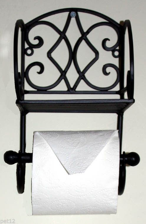 Wrought Iron Toilet Roll Holder With Shelf Black