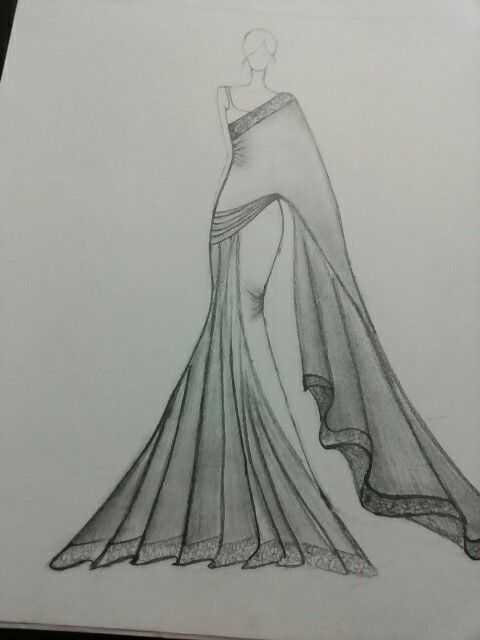 saree illustration sketch fashion illustration